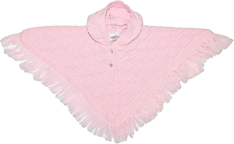Pink Knitted Nursery Time Hooded Poncho