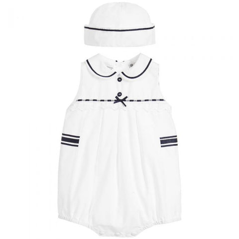 Sarah Louise, White and Navy 2 Piece Shortie Set
