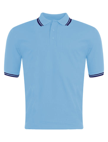 St Leonard's R.C. Primary School - Silksworth Sky Blue/Navy Tipped Polo