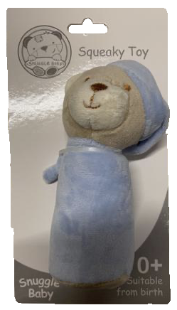 Baby Blue Squeaky Bear Toy