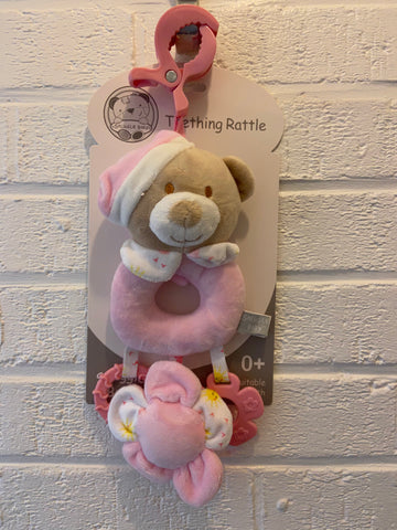 Snuggle Baby, Pink Teething Rattle
