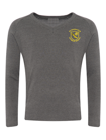 St Michael's Catholic Primary School - Houghton Le Spring Boys Grey V-Neck Jumper