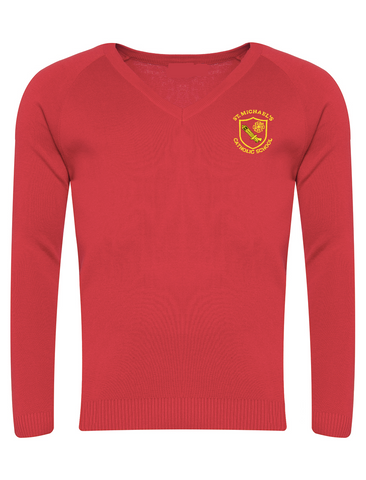 St Michael's Catholic Primary School - Houghton Le Spring Girls Red V-Neck Jumper