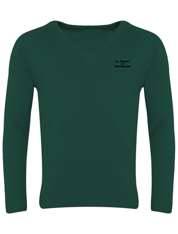 St Robert of Newminster Catholic School Bottle Green V Neck Jumper (Year 7 -9)