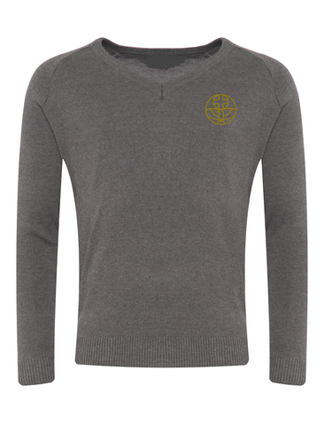 The Venerable Bede Academy Grey V-Neck Jumper