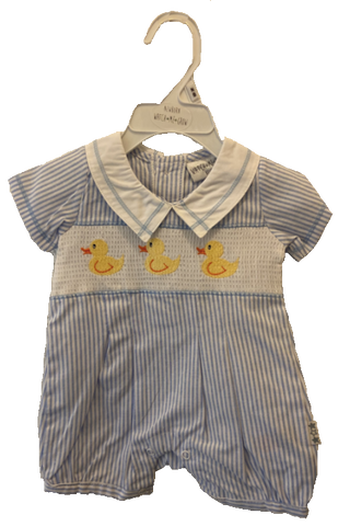Watch Me Grow Baby Blue Duck Romper
