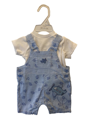Watch Me Grow Boys Baby Blue Aeroplane Dungaree Set