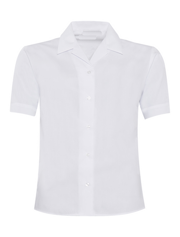 White Short Sleeve Revere Blouses