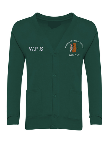 Woodlea Primary School Bottle Green Cardigan With Initials