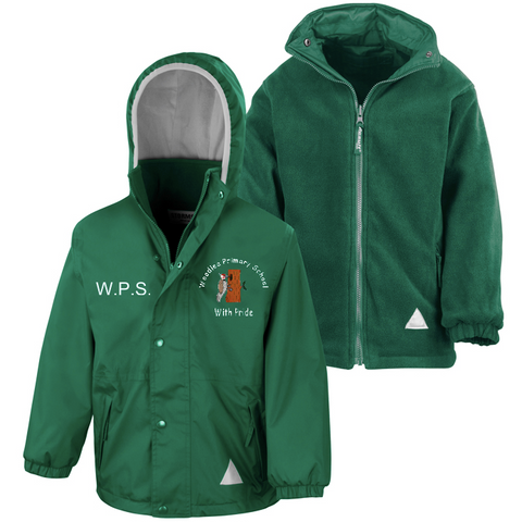 Woodlea Primary School Bottle Green Waterproof Coat with Initials