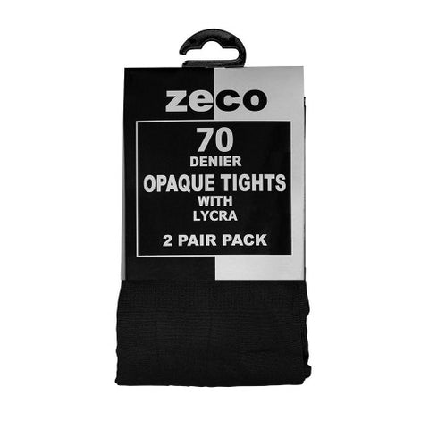 Black Zeco 70 Denier , 2 Pair Pack