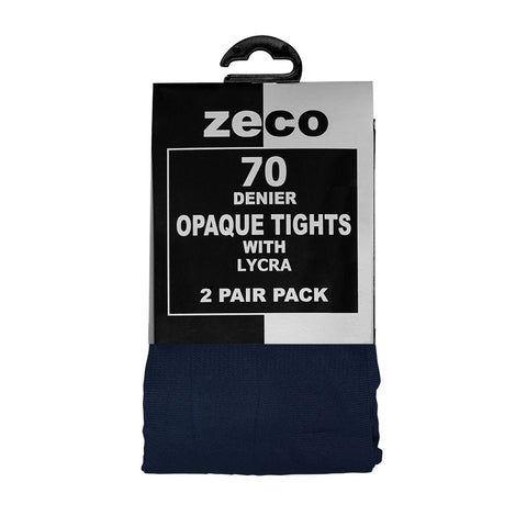 Zeco Navy 70 Denier Tights , 2 Pair Pack