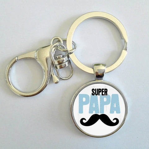 Super PAPA Key Chain Handmade Silver Plated - Sothebees