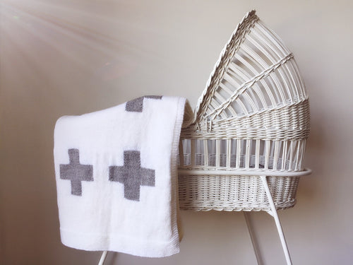 Crib Blanket - White Swiss Cross