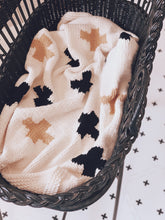 The BC Signature Crib Blanket - Cream/Black/Gold Swiss Cross