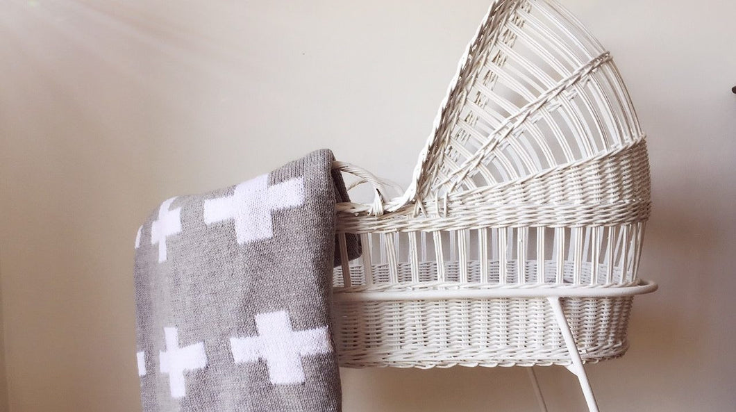 Crib Blanket - Grey Swiss Cross