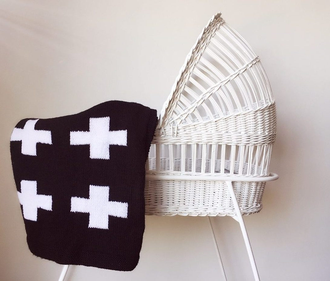 Crib Blanket - Black Swiss Cross