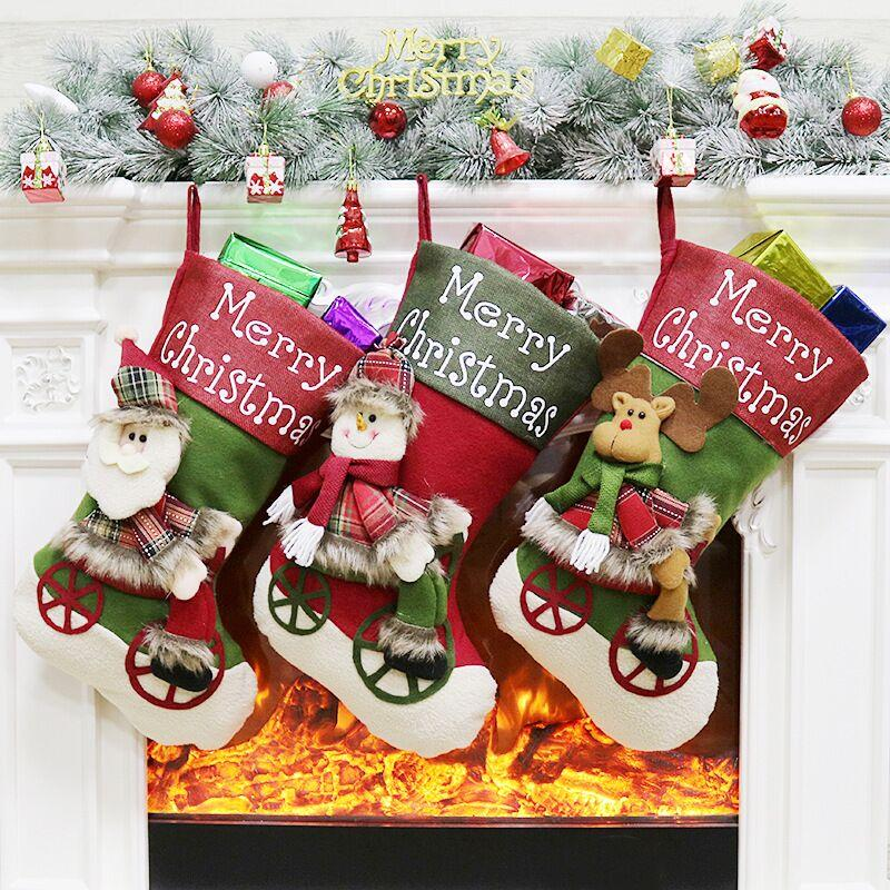 S/3 BICYCLE XMAS STOCKINGS