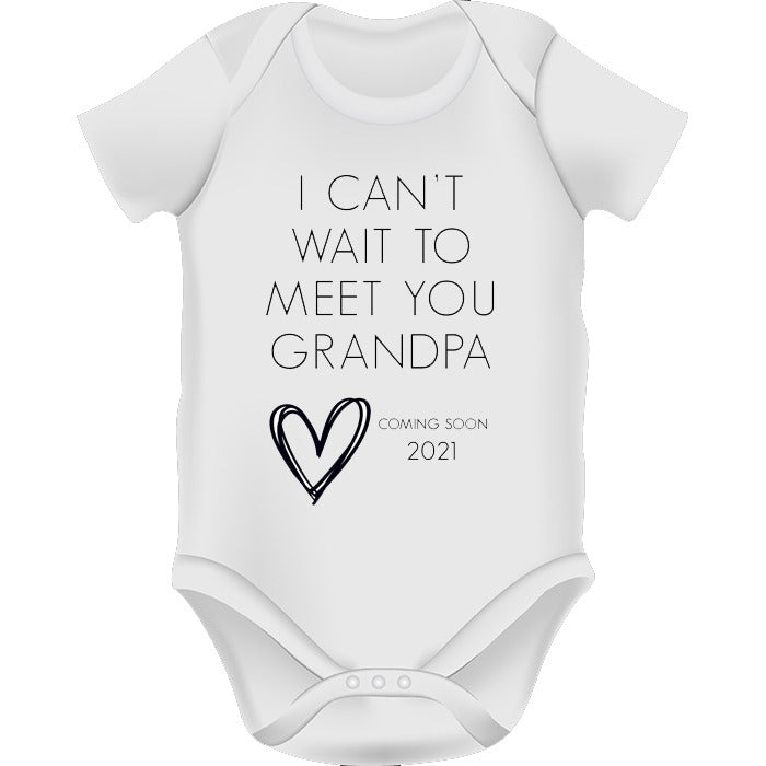 'I can't wait to meet you Grandpa' Baby Announcement Onesie