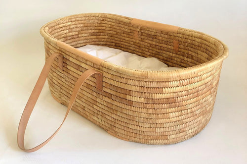 Kocoon Moses Basket Timeless - Leather handles (nude)