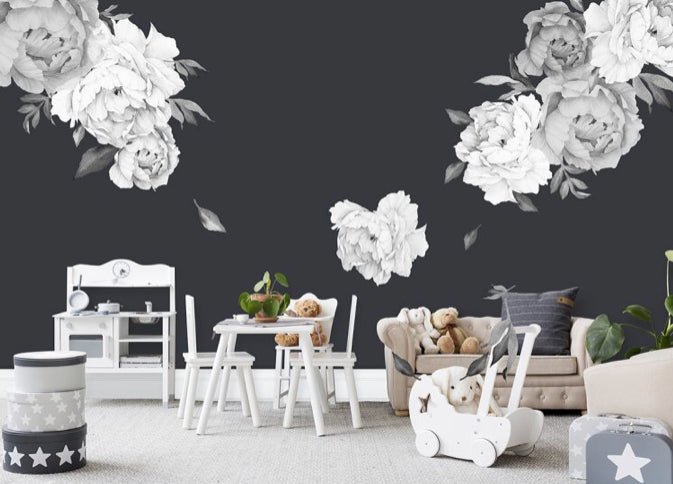 Falling for Peonies - Grayscale