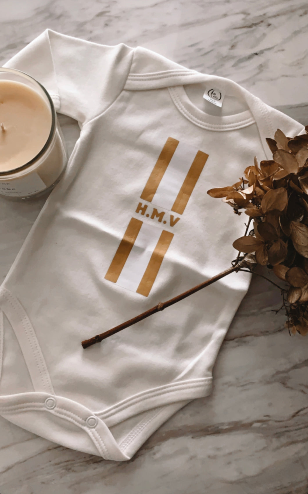 Monogram Gold Onesie