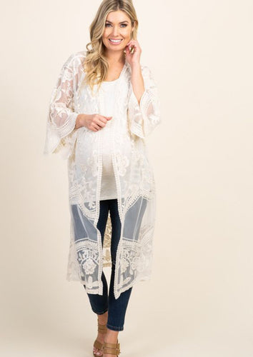 River Goddess Open Crochet Lace Kimono - Cream