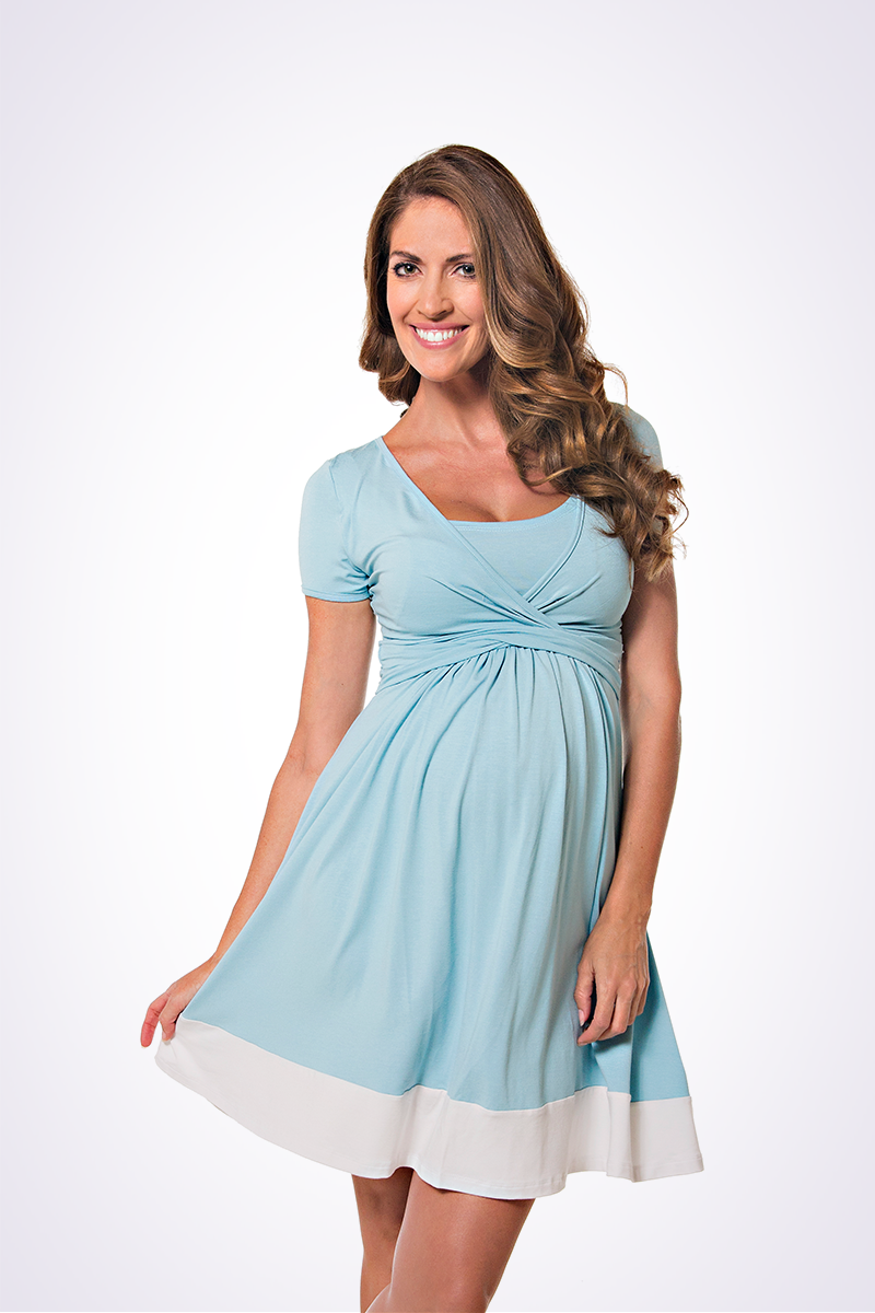 UltiMum Dress Duckegg-Vanilla (Short Sleeved)