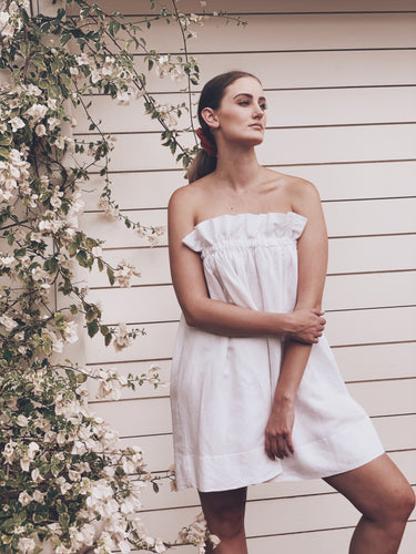 Pure Linen Paperbag Dress