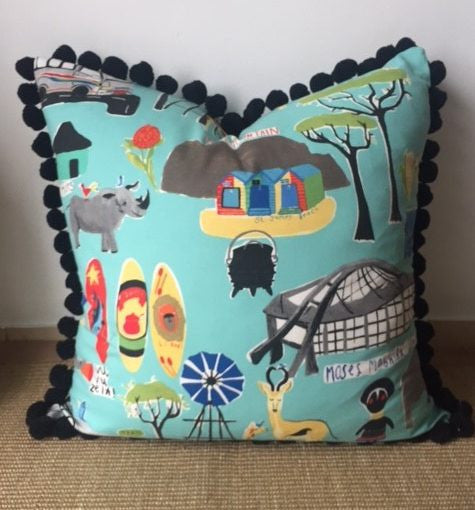 Pom Pom Floor Cushion - Blue Giraffe