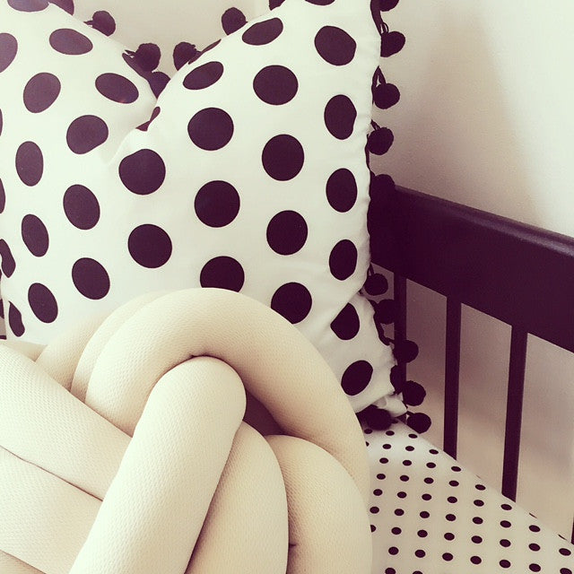 Black Polkadot Pom Pom Cushion