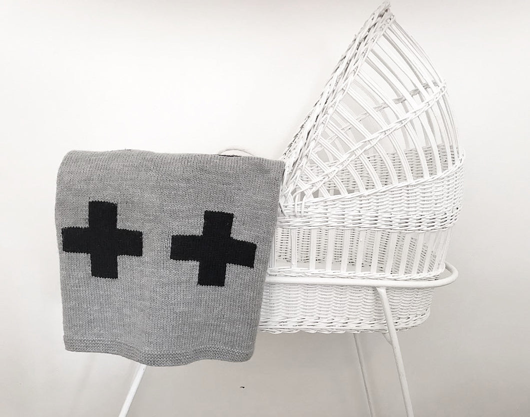 Crib Blanket - Grey/Black Swiss Cross