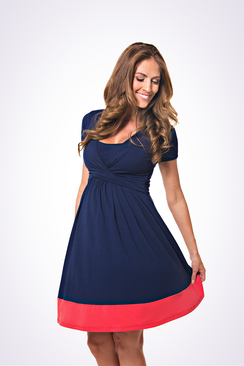 UltiMum Dress Navy-Coral (Short Sleeved)