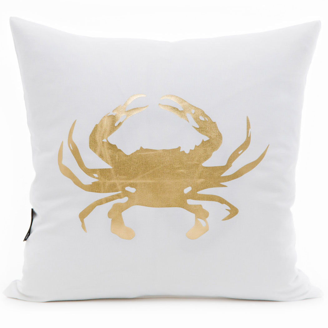 Gold Crab Print Cushion