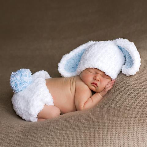 Bunny Baby Hat and Diaper Cover Set