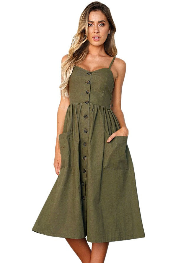 Fit and Flare Olive Day Dress