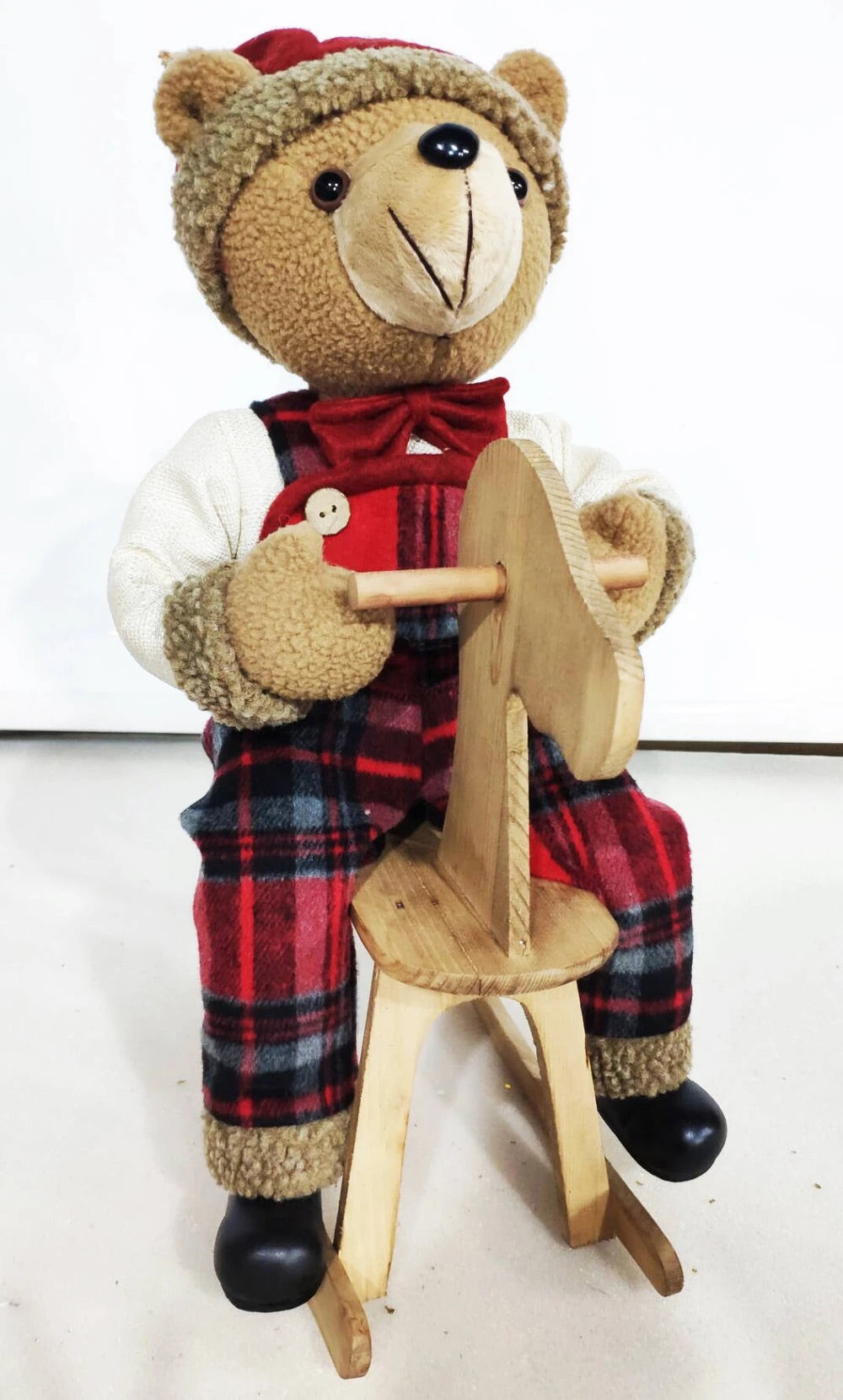 40CM TARTAN BEAR ON ROCKING HORSE