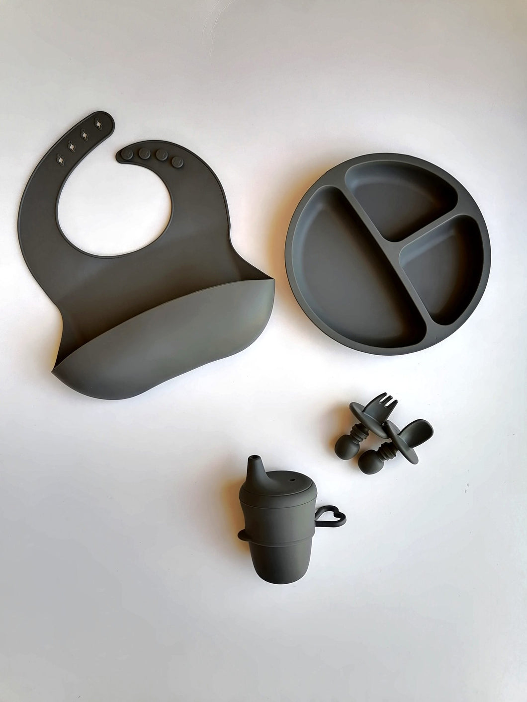 Silicone 6 piece Feeding Set - Slate