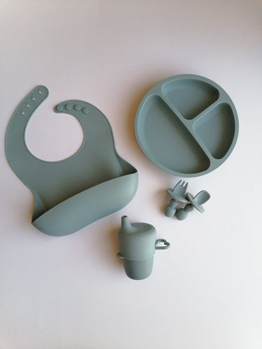 Silicone 6 piece Feeding Set - Denim