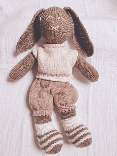 Hand Knit Heirloom Large Bunny Toy