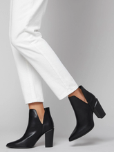 Block Faux Leather Heel Ankle Boots