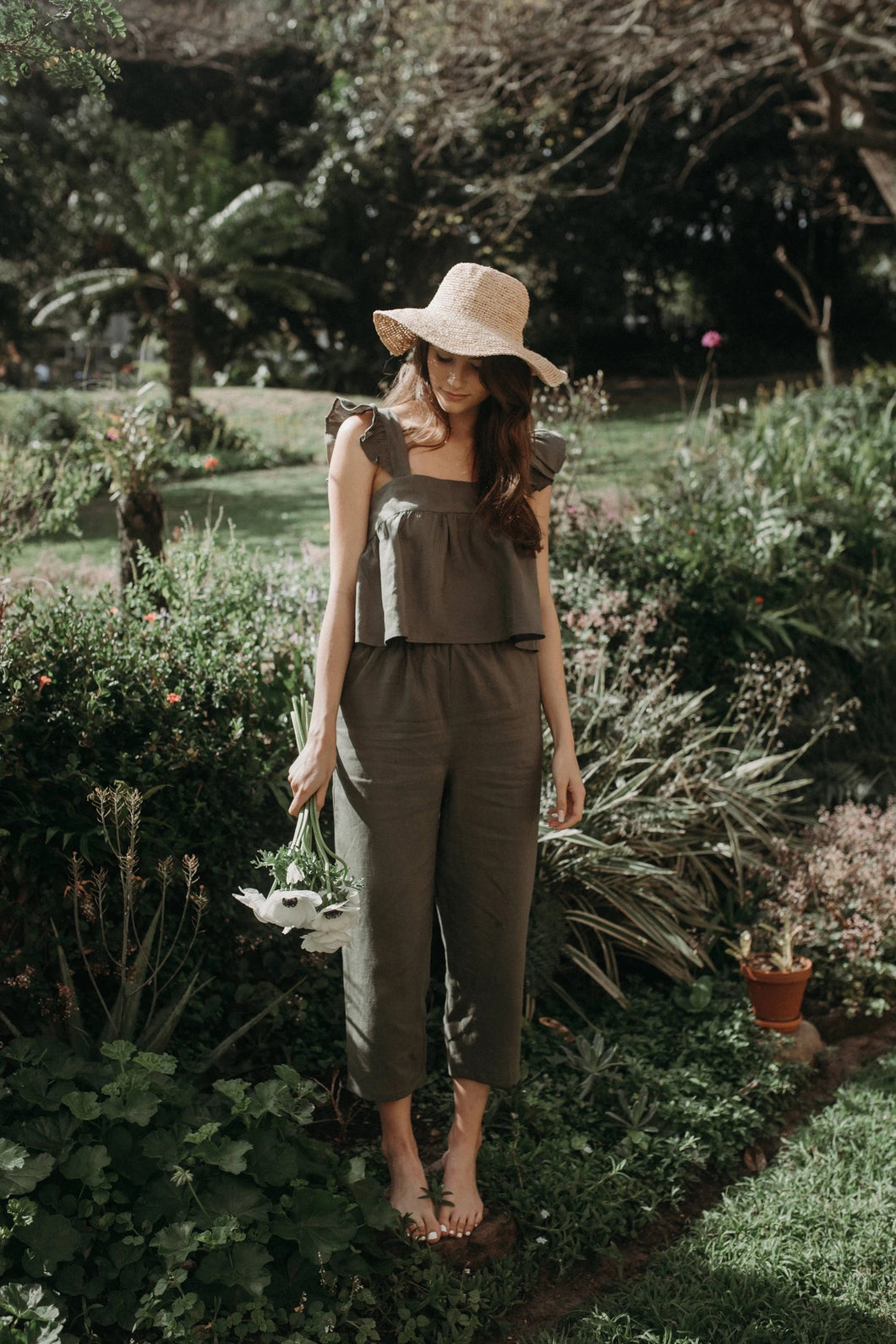 Willow High-Rise Linen Pants - Olive Linen