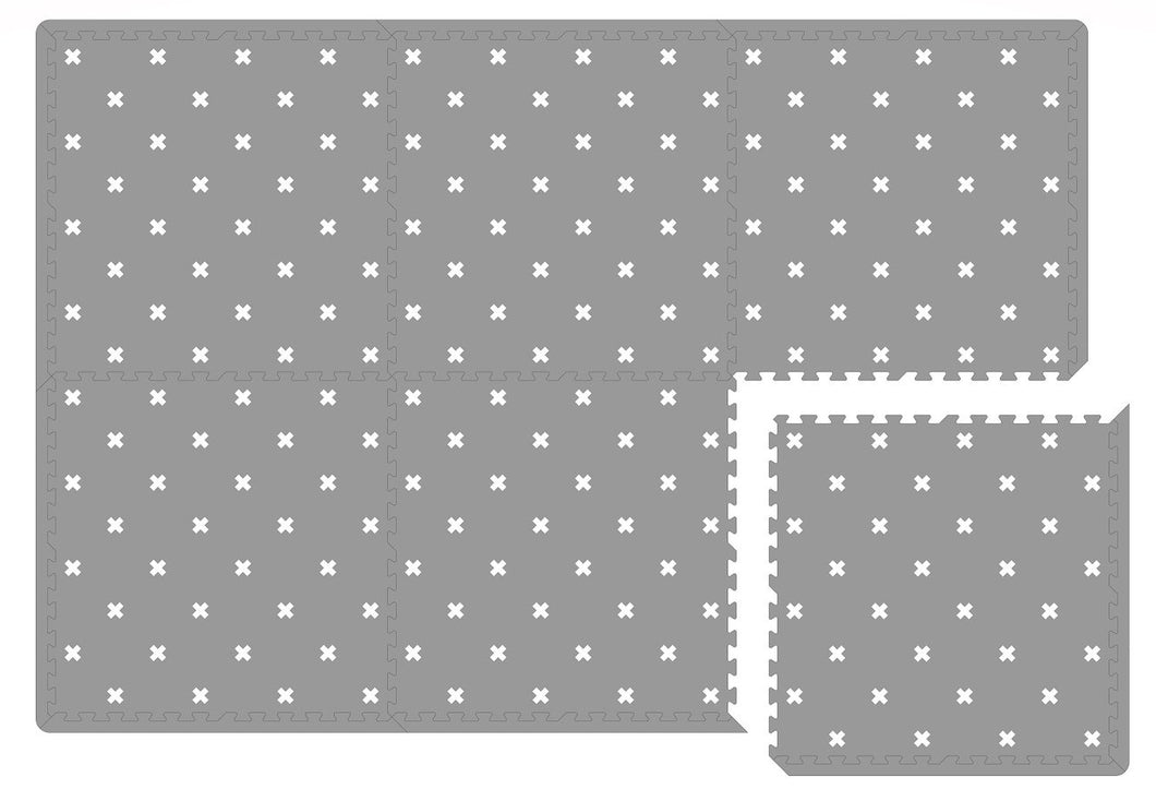 White Nordic Cross on Grey Playmat Tiles