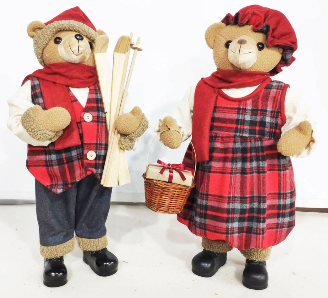 S/2 XMAS TARTAN BEAR COUPLE