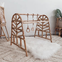 Rattan Baby Play Gym with Dangles