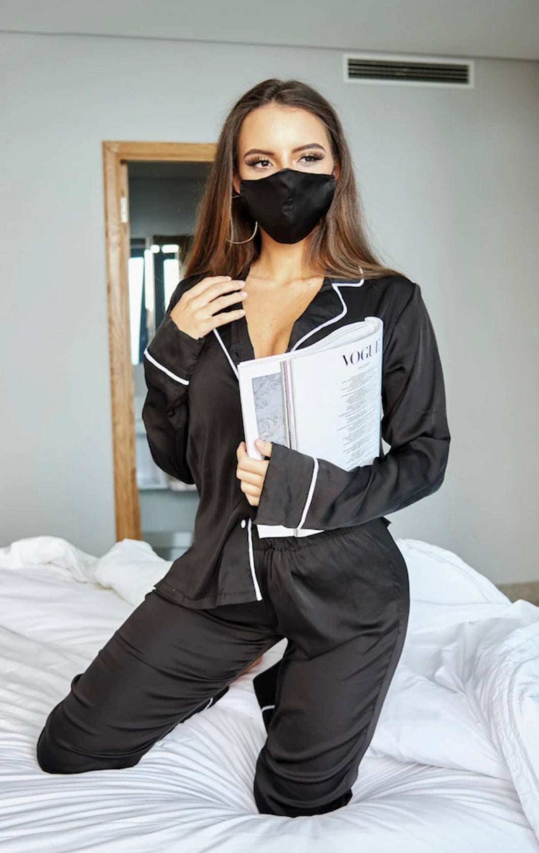 Black Satin Ladies Face Mask