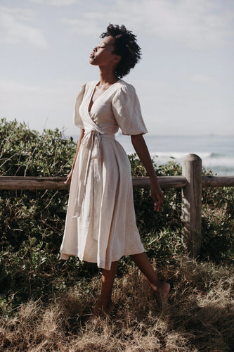 Sage Wrap Dress - Natural Linen