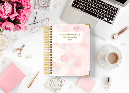Daily Planner - Pink Hexagon