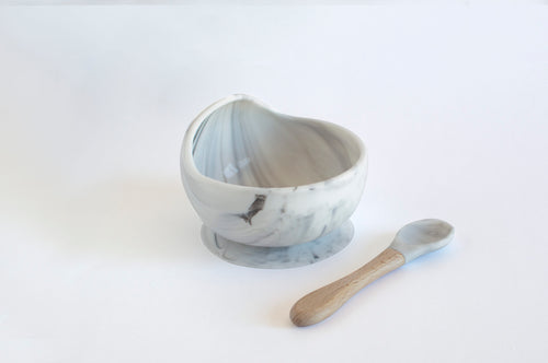 Silicone Suction Bowl + Spoon - Marble
