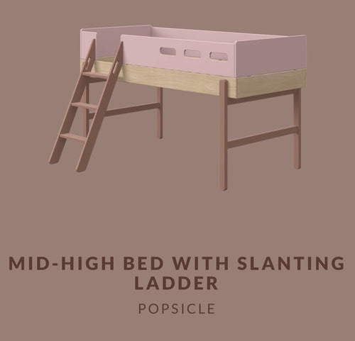 FLEXA POPSICLE MID-HIGH BED WITH SLANTING LADDER